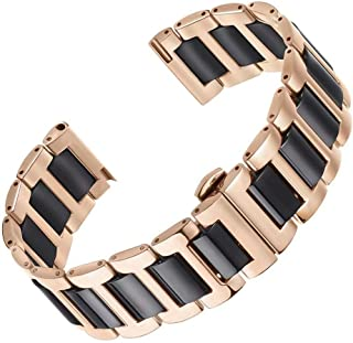 High-End Metal Ceramic Watch Strap Replacement Solid Stainless Steel in Two Tone