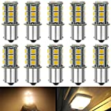 Qoope - Pack of 10-3000K Warm White 1156 BA15S 1141 1003 1073 7506 LED Bulbs 5050 18-SMD Replacement Lamps for 12V Interior RV Camper Trailer Lighting Boat Yard Light Bulbs