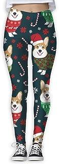 Nuo Beike Christmas Corgi Funny Print Yoga Leggings Pants Quick Dry Capri Leggings