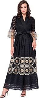 جلابية للنساء بتصميم جديد مزين بالزهور السوداء الرائعة بقبة V بنمط اسلامي طويلة/ماكسي- تخفيضات