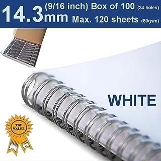 """14.3mm (9/16"""") Twin Loop Binding Wire WHITE 34 Loop (PK 100)"""