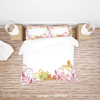 SCOXIXI Bed Cover Set Floral Spring Wreath Soft Toned Flower Butterflies Leaves Pattern (Comforter Not Included) Soft, Breathable, Hypoallergenic, Fade Resistant
