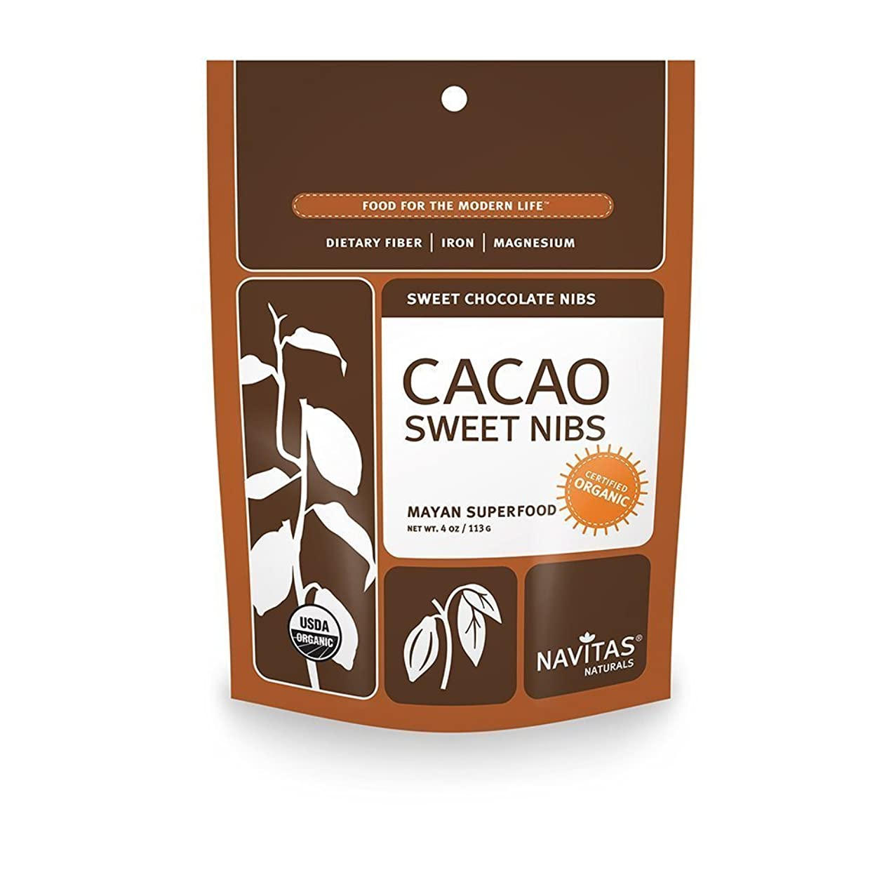 Navitas Naturals Organic Raw Cacao Nibs Sweetened, 4-Ounce Pouches (Pack of 3)