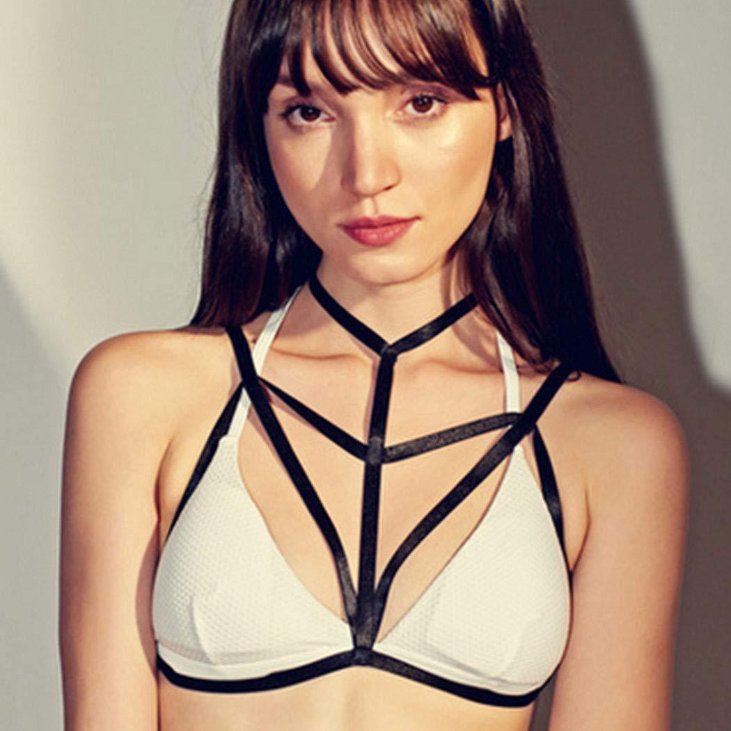 Nicute Body Chain Black Bikini Chains Elastic Reticulate Bra Belt Sexy Body Jewelry for Women and Girls