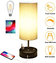3 Way Dimmable Touch Control Table Lamp, Bedside Lamp with 2 USB Charging Ports & 2 AC Outlets, Modern Nightstand Lamp for Bedroom Living Room Office, Bedside Lamps ST64 E26 LED Bulbs Included