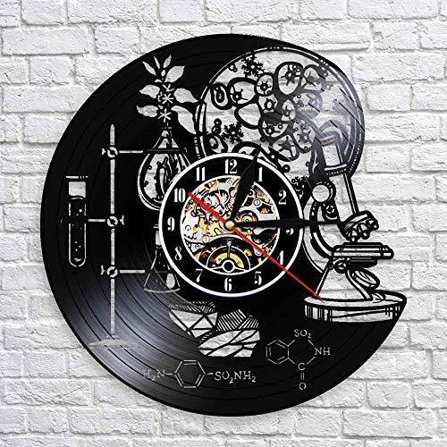 wtnhz LED-Instrumentos científicos de bioquímica Reloj de Pared Oxígeno Molecular químico Arte de Pared Decoración de Pared Reloj de Pared con Registro de Vinilo
