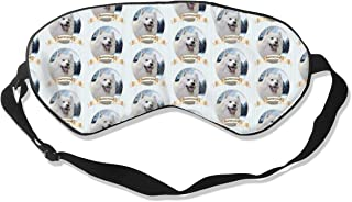Samoyed Breathable Pure Silk Sleep Eye Mask Best Sleeping Eye Cover for Travel, Nap, Blindfold with Adjustable Strap for Men, Women or Kids