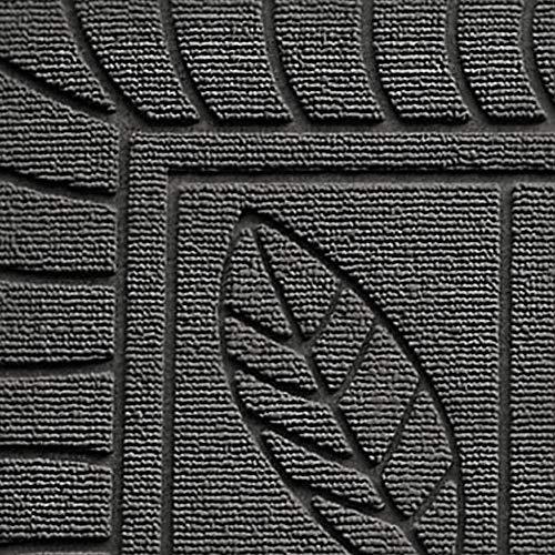 douceur d'intérieur tapis d'entree rectangle 45x75 cm pvc feuilles gris