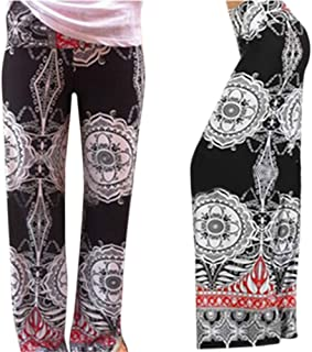 EDTara European and American Ethnic Style Printing Middle Waist Fitted Wide Leg Pants for Beautiful Ladies