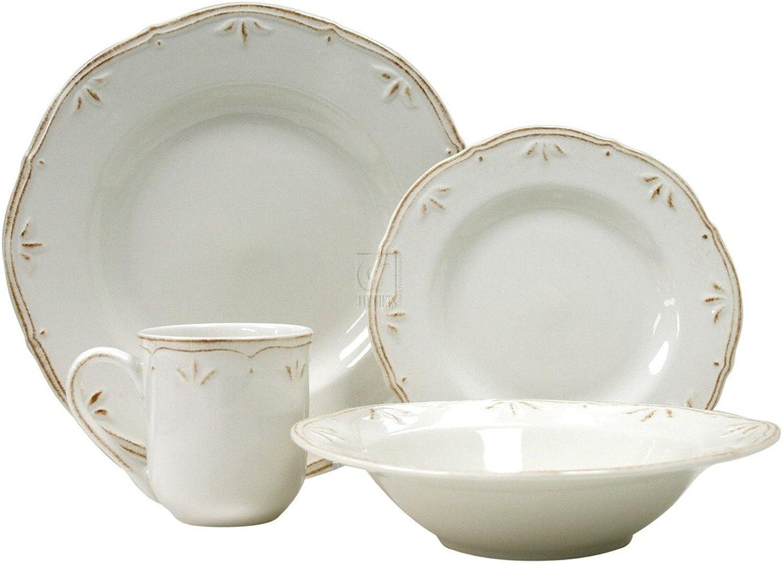 Thomson Pottery Sicily White 16 PC Dinnerware Set Service For 4