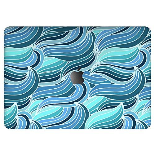 Vonna Vinyl Decal Skin for Apple MacBook Pro 16' 2019 Pro 13' 2020 Retina 15' Air 13' Mac Air 11 Mac 12 Waves Lines Sticker Protective Abstract Print Design Blue Elegant Cover Clouds Artwork vm1242