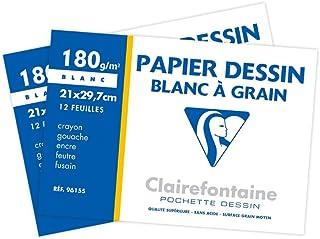 Clairefontaine 196155AMZC - Lot de 2 - Pochette Dessin Scolaire - 12 Feuilles Papier Dessin Blanc à Grain - A4 21x29,7 cm ...