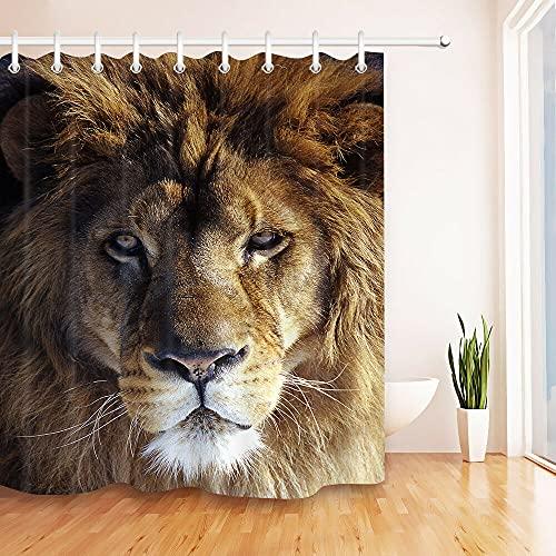 Porträt des afrikanischen Löwen Duschvorhang für Badezimmer,wasserdichtes & schnelltrocknendes Polyester,hochauflösendes Muster,12Haken,180X180cm,Heimtextilien
