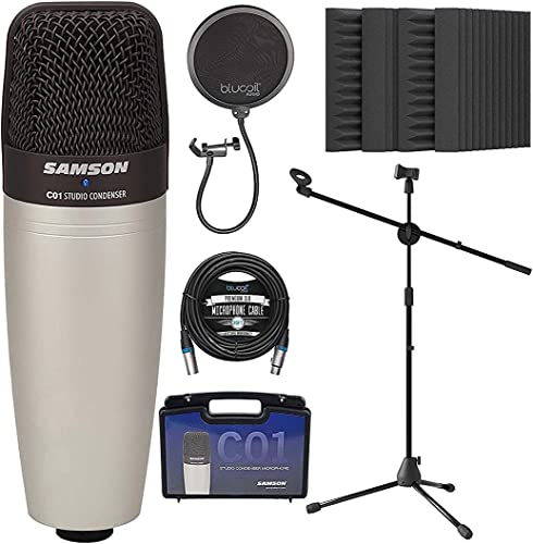 """new arrival Samson C01 Large-Diaphragm Condenser Microphone for Vocals and Acoustic popular Instruments Bundle with Blucoil 20-FT Balanced XLR Cable, Pop Filter, Adjustable online sale Mic Stand, and 4x 12"""" Acoustic Wedges online"""