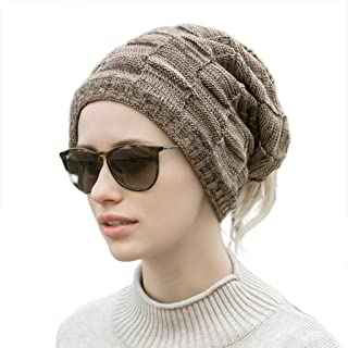 Winter Beanie Hats Warm Knit Hats Skull Cap Neck Warmer with Thick Fleece Lined Winter Hat for Women