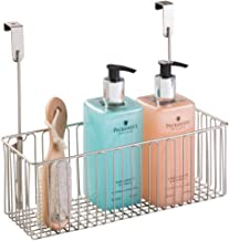 mDesign Metal Over Cabinet Bathroom Storage Organizer Holder or Basket - Hang Over Cabinet Doors - Holds Shampoo, Conditio...