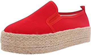 VonVonCo Shoes Elastic Durable Yoga Surf Sports Brogues Women's Fashion Canvas Platform Thick Bottom Slip On Loafers Sneakers