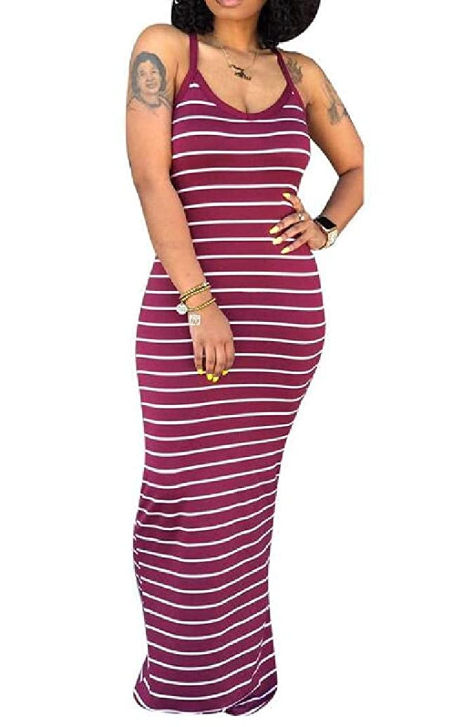BU2H Women Bohemian Spaghetti Strap Stripe Bodycon Beach Maxi Dress