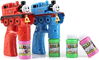 Fun Central 2 Packs - LED Light Up Train Bubble Gun Blower with Sound for Kids with 2 Refill Bottles - Red and Blue