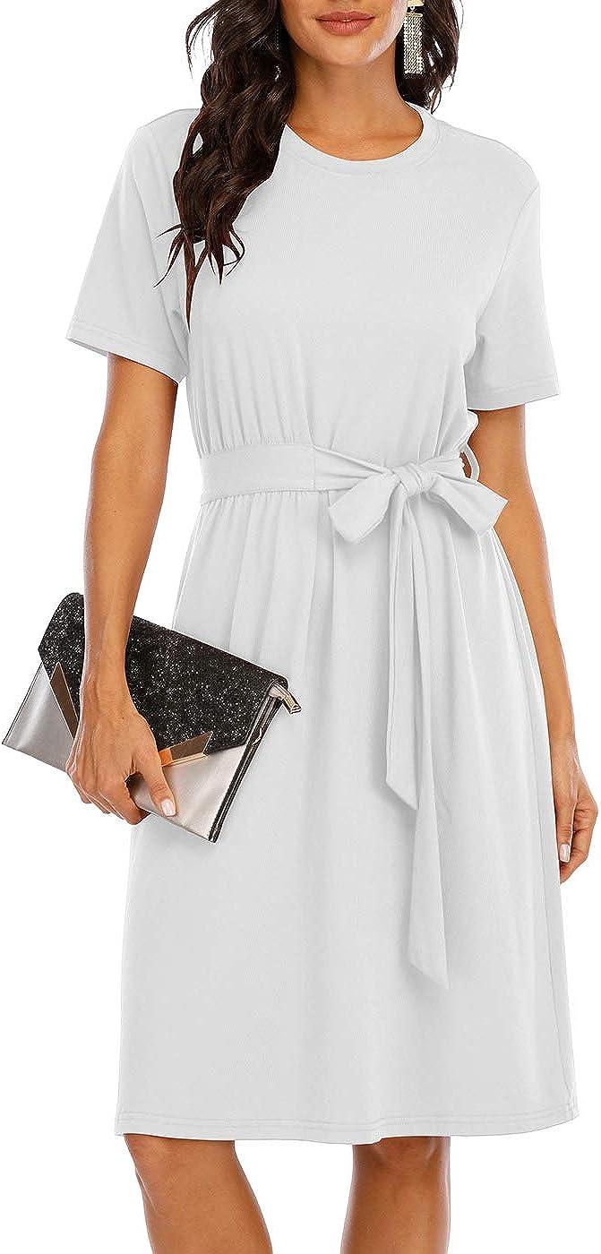 CHARMYI Tshirt Dresses for Women Casual Summer Tie Waist Flowy Knee Length A Line Tunic Empire Waist Midi Dress