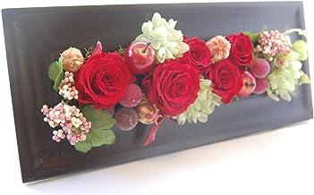パラボッセオリジナル 壁掛け プリザーブドフラワー レクタングル レッド ケース入 横幅33cmx10cmx高さ15cm preserved flowers