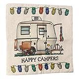 OPEN BUY Funda de cojin Caravana Blanca Vintage Camping campistas Felices de 45 x 45 cm