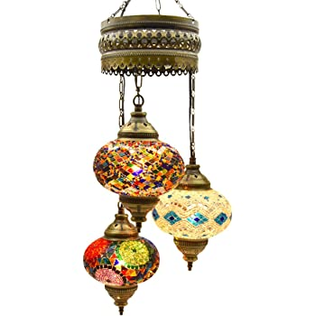 (Choose from 5 Designs) Turkish Moroccan Mosaic Glass Chandelier Lights Hanging Ceiling Tiffany Lamp, Large (C)
