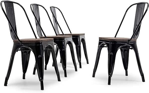 BELLEZE 现代风格金属工业可堆叠小酒馆餐椅 4 件套木椅咖啡馆酒吧餐厅凳子黑色