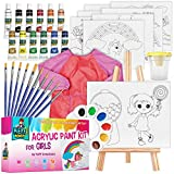acrylic paint kit for kids – 34-piece art supplies set for girls, 12 acrylic paint tubes – nontoxic, canvases, paint brush set, tabletop easel, art smock, complete paint bundle pack by KEFF Creations