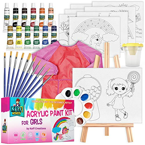 acrylic paint kit for kids – 34-piece art supplies set for girls, 12 acrylic...