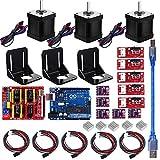 Professioneller 3D Drucker CNC Kit für Arduino GRBL CNC Shield + UNO R3 Platine + RAMPS 1.4 Mechanischer Endschalter + DRV8825 Schrittmotortreiber + Nema 17 Schrittmotor