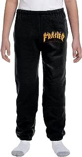Youth's Thrasher Magazine Frasier Fire Logo Fleece Sweatpants Black Geek