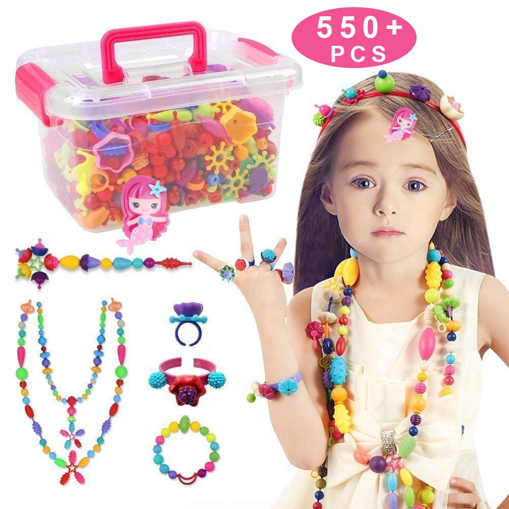 Ideal Christmas Birthday Gifts for 4,5,6,7,8 Year Old Girls Making Necklace,Bracelet and Ring Bag Packaging Conleke Pop Snap Beads Set 520 PCS for Kids Toddlers Creative DIY Jewelry Toys