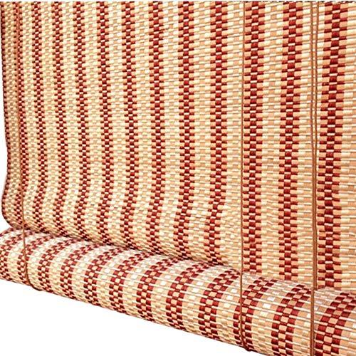 Jcnfa-rolgordijnen jaloezieën bamboe rolluiken, natuurlijke tinten voor ramen, lichtfilter Roll Up Curtain, Oosterse meubels gebrand bamboe met volantgrootte kan bijzonder worden gemaakt