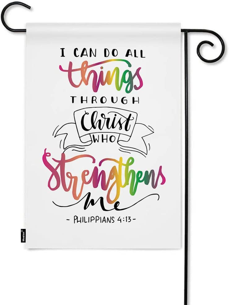 Moslion Christian Quote Garden Flag I Can Do All Things Through Christ Who Strengthens Me Word Home Flags 12x18 Inch Double-Sided Banner Welcome Yard Flag Outdoor Decor. Lawn Villa