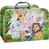 alles-meine.de GmbH Kinderkoffer / Koffer - GROß - lustige Dschungel & Zoo Tiere - für Spielzeug und als Geldgeschenk - Mädchen & Jungen - Kinder & Erwachsene - Pappe Karton - Pa..