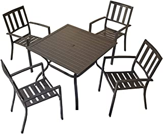 Top Space Patio Dining Set Outdoor Furniture Sets Metal Frame Slat Chairs and Bistro Square Table with Umbrella Hole 5 Piece for Garden Balcony Lawn, Black (Chairs&Table Set)