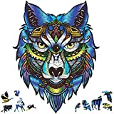 Wooden Jigsaw Puzzles, 203 Uniquely Shaped Animal-Shaped Puzzle Pieces, The Best Gift for Adults and Children, Majestic Wolf-Shaped Puzzle Family Game,Wooden Puzzles for Adults, 9x11.8 Inches,Medium