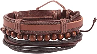 Unknown By Ayesha Men's Dark Brown Faux Leather Beaded Bracelets