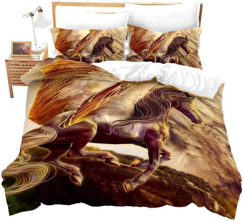 High material dsgsd Duvet Cover Queen Yellow Painting Animal 5% OFF Abstrac Oil Horse