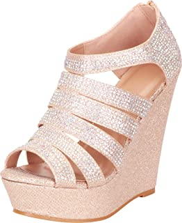 Cambridge Select Women`s Open Toe Strappy Cutout Caged Crystal Rhinestone Chunky Platform Wedge Sandal