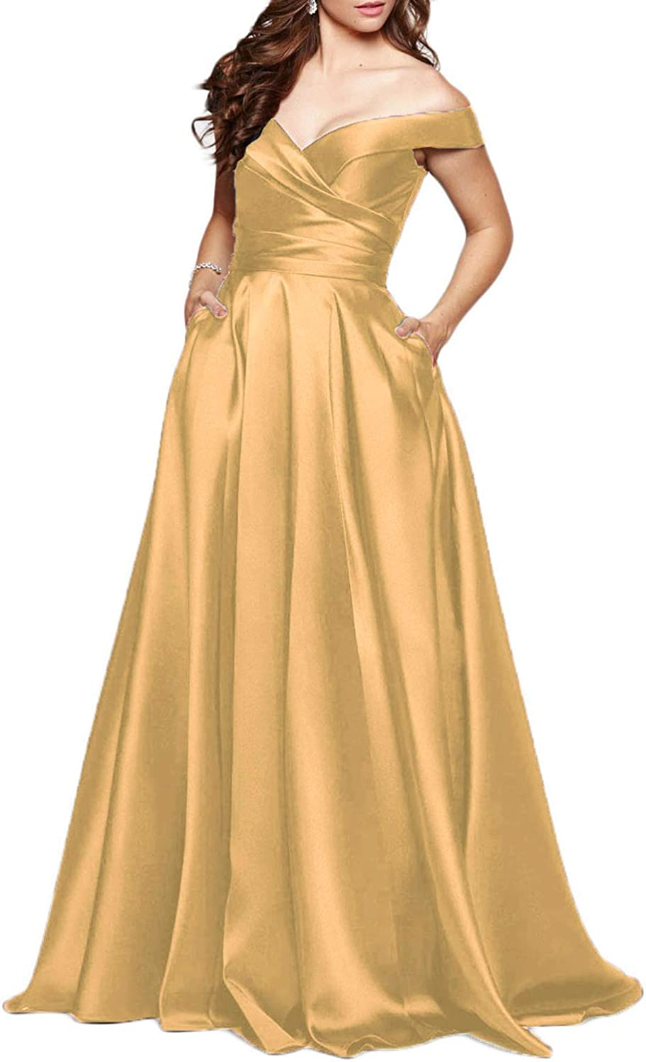 Scarisee Long Off Shoulder Prom Evening Dress Pocket Formal Bridesmaid Gownsa31