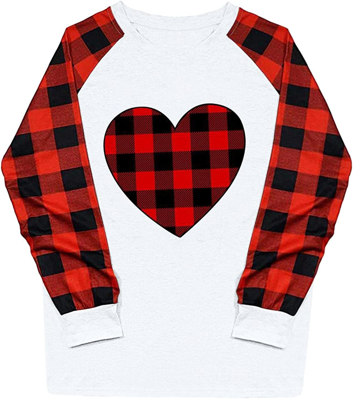 UOCUFY Sweatshirt for Women, Womens Crewneck Shirts Blouse Plaid Cute Printed Raglan Pullover Casual Long Sleeve Tops