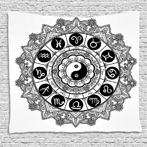 yrfchgj Tapices Ying Yang Decor Round Zodiac Theme Design In Centre Astrological Signs Print Wall Hanging For Bedroom Room Dorm Black and White 150X200Cm
