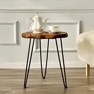 WELLAND Natural Edge Side Table with Hairpin Legs, End...