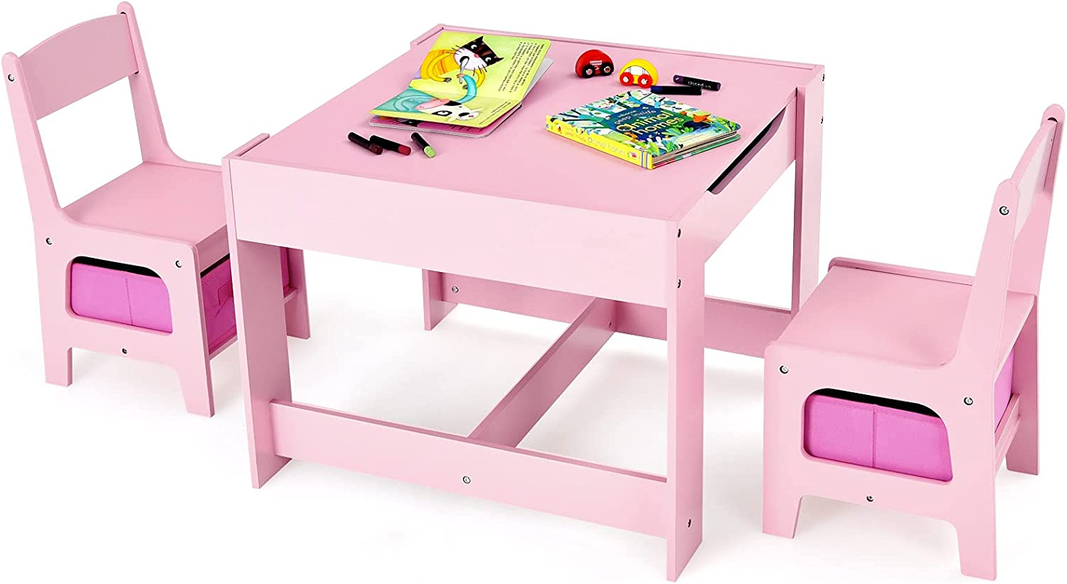 Costzon 3 Charlotte Mall in 1 Kids Wood Children 2 Activity Set Table Limited price sale Chair