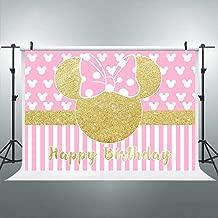 Riyidecor Cartoon Pink Mouse Backdrop Kids Happy Birthday Photography Background Gold Princess 7x5ft Decoration Background Photo Studio Celebration Party Prop Photoshoot Photo Booth Vinyl Cloth