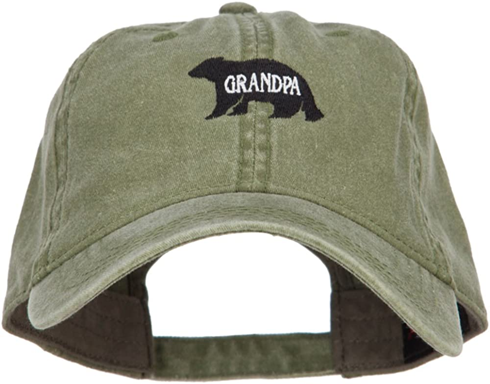 Grandpa Bear Embroidered Washed Cotton Twill Cap
