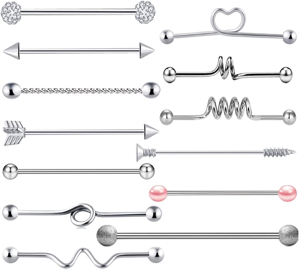13Pack, 316L Surgical Grade Stainless Steel Mixed Barbell Piercing Body Jewelry