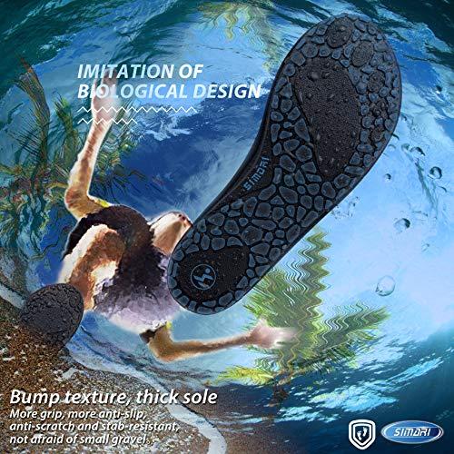 SIMARI Anti Slip Water Shoes for Women Men Summer Outdoor Beach Swim Surf Pool SWS001 Stripe Black 8.5-9.5